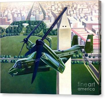 Canvas Print featuring the painting Hmx-1 Mv-22 by Stephen Roberson