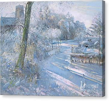Hoar Frost Morning Canvas Print by Timothy  Easton