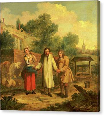 Hob Taken Out Of Ye Well, John Laguerre, 1688-1746 Canvas Print by Litz Collection