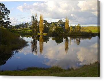 Autumn At Hobbiton Lake New Zealand Canvas Print by Venetia Featherstone-Witty