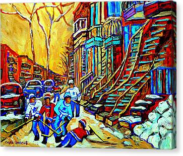 Hockey Art Montreal Winter Scene Winding Staircases Kids Playing Street Hockey Painting  Canvas Print by Carole Spandau