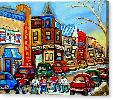 Hockey Art Montreal Winter Street Scene Painting Chez Vito Boucherie And Fairmount Bagel Canvas Print by Carole Spandau