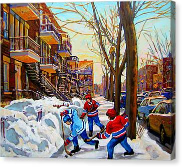 Hockey Art - Paintings Of Verdun- Montreal Street Scenes In Winter Canvas Print by Carole Spandau