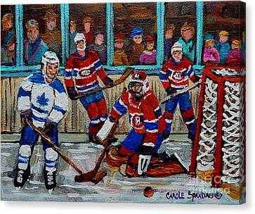 Hockey Art Vintage Game Montreal Forum Canvas Print by Carole Spandau