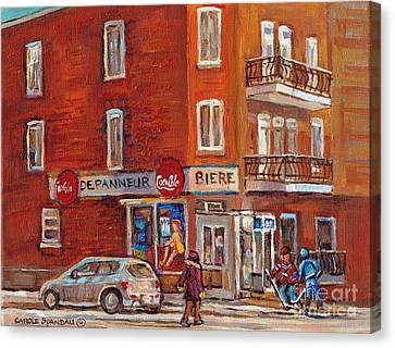 Hockey Game At Corner Store-montreal Depanneur-city Scene Painting-carole Spandau Canvas Print by Carole Spandau