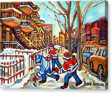 Hockey Game Near Montreal Staircases Winter Scenes Paintings Carole Spandau Canvas Print by Carole Spandau