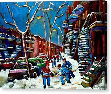 Hockey Game On De Bullion Montreal City Scene Canvas Print by Carole Spandau