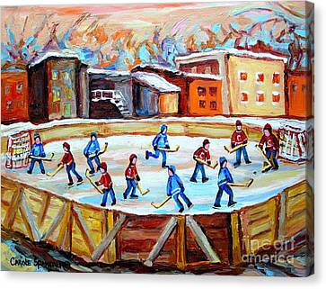 Hockey In The City Outdoor Hockey Rink Montreal Memories Winter City Scenes Painting Carole Spandau  Canvas Print