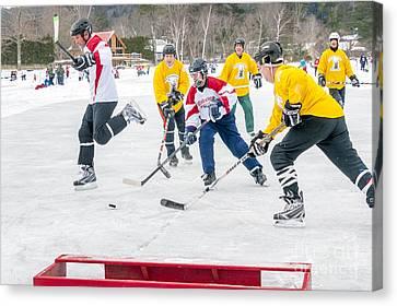 Pond Hockey Canvas Print - Hockey In Vermont by Jim Block