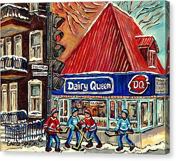 Hockey Near The Ice Cream Shop In Verdun Montreal Paintings By Carole Spandau Canvas Print by Carole Spandau