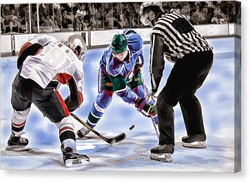 Hockey Players And Referee In Bold Watercolor Canvas Print by Elaine Plesser