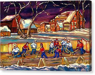 Hockey Practice In The Village Canadian Winter Night Scene Quebec Landscape Carole Spandau Canvas Print