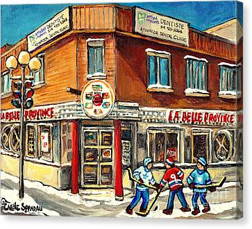 Hockey Practice Near The Hot Dog Restaurant On Notre Dame And Atwater Streets Montreal Paintings  Canvas Print by Carole Spandau