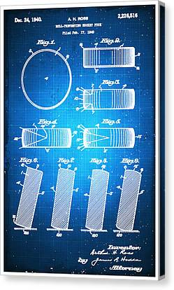Technical Canvas Print - Hockey Puck Patent Blueprint Drawing by Tony Rubino
