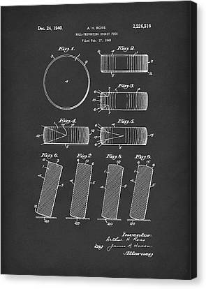 Hockey Puck Patent Art Black Canvas Print by Prior Art Design