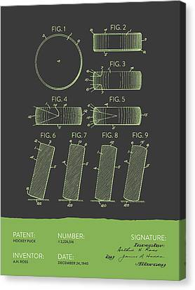 Hockey Puck Patent From 1940 - Gray Green Canvas Print by Aged Pixel