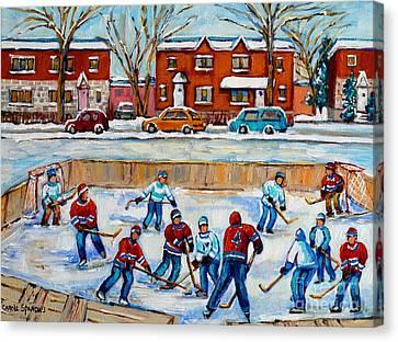 Hockey Rink At Van Horne Montreal Canvas Print by Carole Spandau