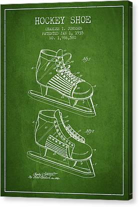 Hockey Shoe Patent Drawing From 1935 - Green Canvas Print by Aged Pixel
