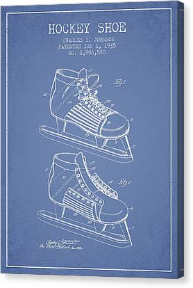 Hockey Shoe Patent Drawing From 1935 - Light Blue Canvas Print by Aged Pixel