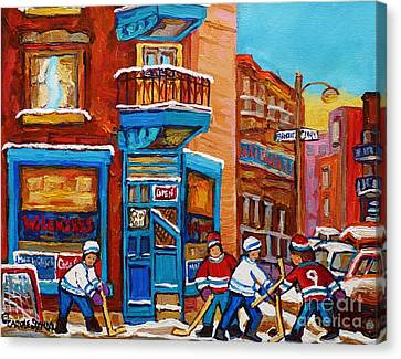 Hockey Stars At Wilensky's Diner Street Hockey Game Paintings Of Montreal Winter  Carole Spandau Canvas Print by Carole Spandau