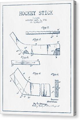 Hockey Stick Patent Drawing From 1931 - Blue Ink Canvas Print by Aged Pixel