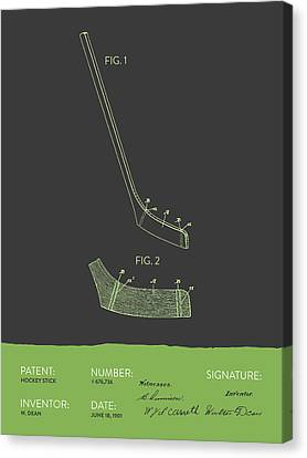 Hockey Stick Patent From 1901 - Gray Green Canvas Print by Aged Pixel