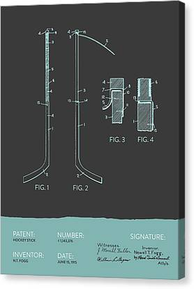 Hockey Stick Patent From 1915 - Gray Blue Canvas Print by Aged Pixel