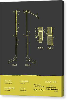 Hockey Stick Patent From 1915 - Gray Yellow Canvas Print by Aged Pixel