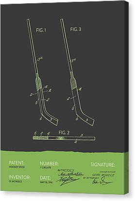 Hockey Stick Patent From 1916 - Gray Green Canvas Print by Aged Pixel