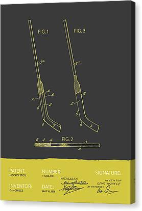Hockey Stick Patent From 1916 - Gray Yellow Canvas Print by Aged Pixel