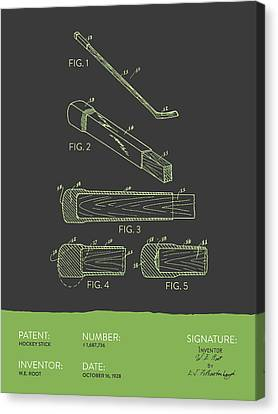 Hockey Stick Patent From 1928 - Gray Green Canvas Print by Aged Pixel