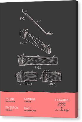 Hockey Stick Patent From 1928 - Gray Salmon Canvas Print by Aged Pixel