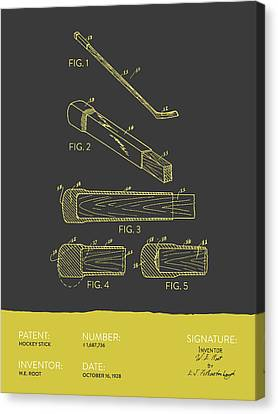 Hockey Stick Patent From 1928 - Gray Yellow Canvas Print by Aged Pixel