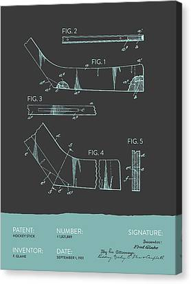Hockey Stick Patent From 1931 - Gray Blue Canvas Print by Aged Pixel