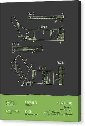 Hockey Stick Patent From 1931 - Gray Green Canvas Print by Aged Pixel