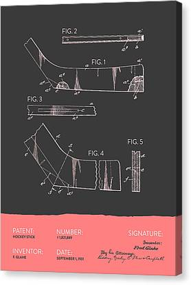 Hockey Stick Patent From 1931 - Gray Salmon Canvas Print by Aged Pixel