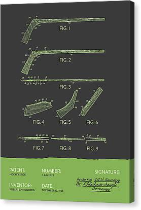 Hockey Stick Patent From 1935 - Gray Green Canvas Print by Aged Pixel