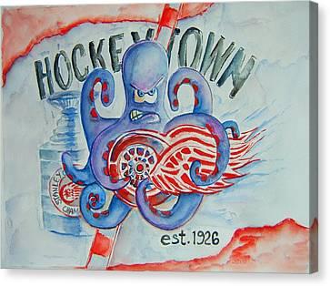 Hockeytown Canvas Print by Elaine Duras