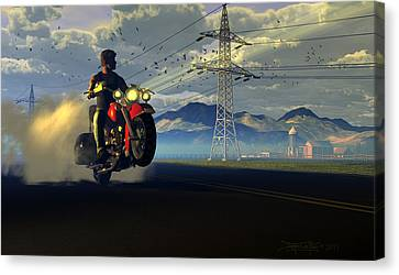 Hog Rider Canvas Print by Dieter Carlton