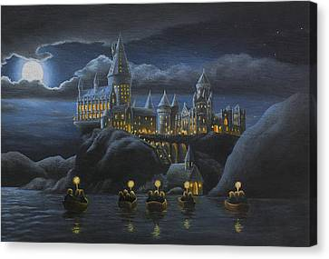 Hogwarts At Night Canvas Print by Karen Coombes