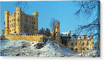 Hohenschwangau Castle Panorama In Winter Canvas Print by Rudi Prott