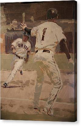 San Francisco Giants Canvas Print - Hold At Third by Darren Kerr
