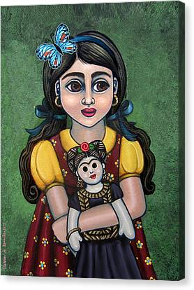 Holding Frida With Butterfly Canvas Print by Victoria De Almeida