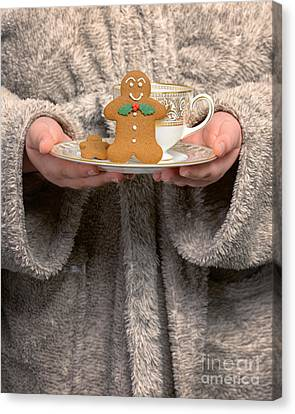 Holding Gingerbread Biscuits Canvas Print