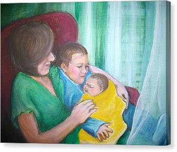 Holding His New Baby Brother Canvas Print by Martha Suhocke