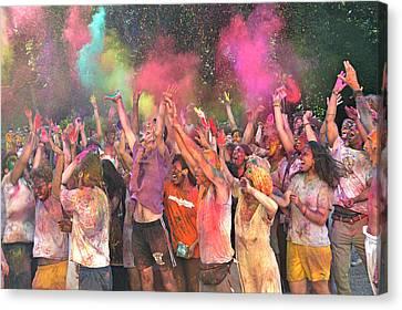Holi Color Festival Canvas Print by Fiorella Lamnidis