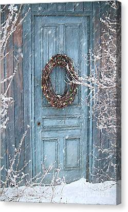 Barn Door And Holiday Wreath/digital Painting Canvas Print