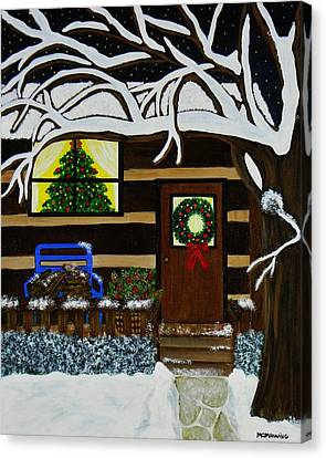 Canvas Print featuring the painting Holiday Cabin by Celeste Manning