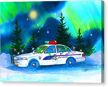 Law Enforcement Canvas Print - Holiday Cheer For Our First Responders by Teresa Ascone