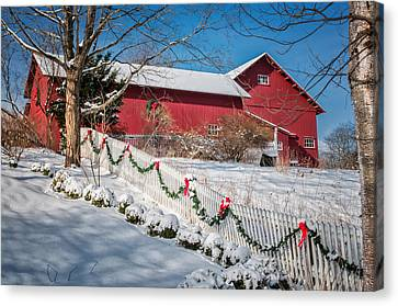 Holiday Cheer - Southbury Connecticut Barn Canvas Print by Thomas Schoeller